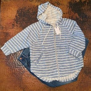 NWT Lucky Brand Blue & Cream Striped Hooded Jacket